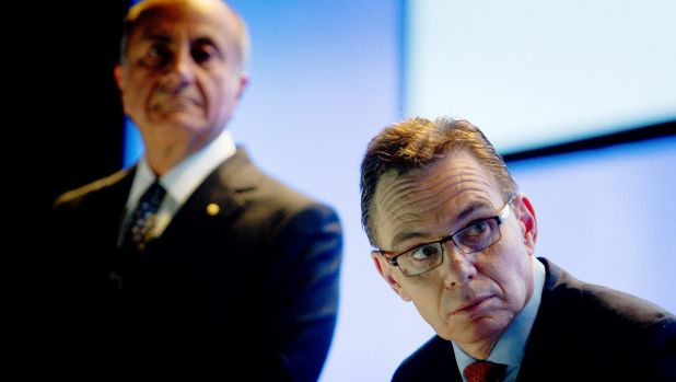 Andrew Mackenzie, chief executive of BHP Billiton, right, and Jacques 'Jac' Nasser, chairman, face having to battle one ...
