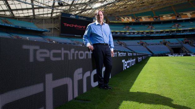 Techfront Australia chief executive Neil Maxwell has LED signage at ANZ Stadium.