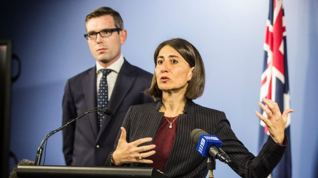 NSW Premier Gladys Berejiklian and Treasurer Dominic Perrottet announcing that Hastings and First State have won the ...