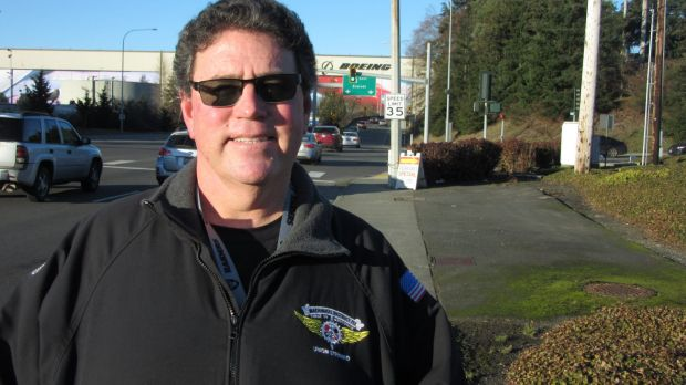 Brian Butler, a Boeing veteran of 30 years, outside the company's factory in Everett, Washington.