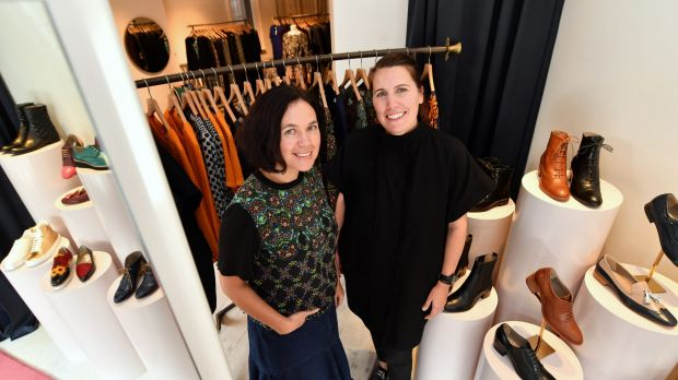 Megan Park (left) and Annie Abbott in their shared store in Gertrude Street, Fitzroy.