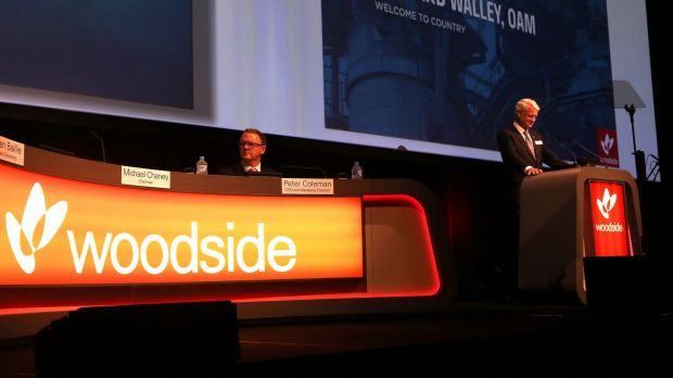 Woodside chief executive Peter Coleman and outgoing chairman Michael Chaney (right) are seen at the Woodside AGM.