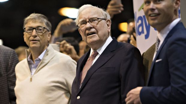 Warren Buffett, chairman and chief executive officer of Berkshire Hathaway and Bill Gates, billionaire and co-founder of ...