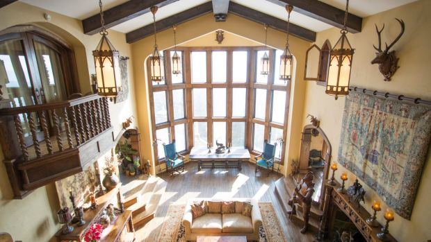 The great room in Highlands Castle, which is for sale for $US12.8 million.