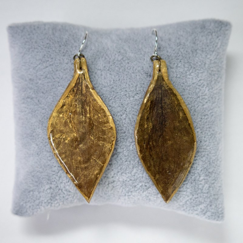 gold clematis earrings