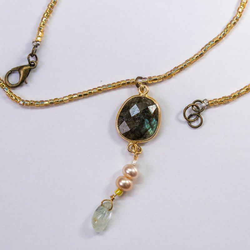labradorite aquamarine necklace