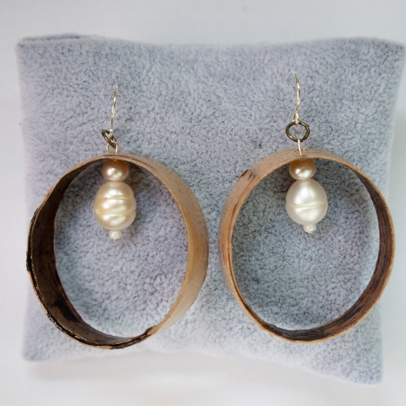 large birch hoop earrings