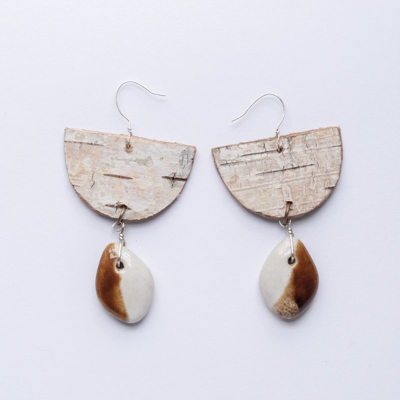birch bark half moon and ceramic drop earrings