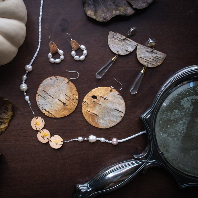 gold and pearl birch bark jewelry