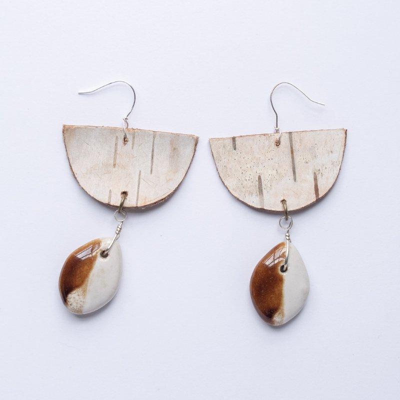 half moon birch bark drop earrings