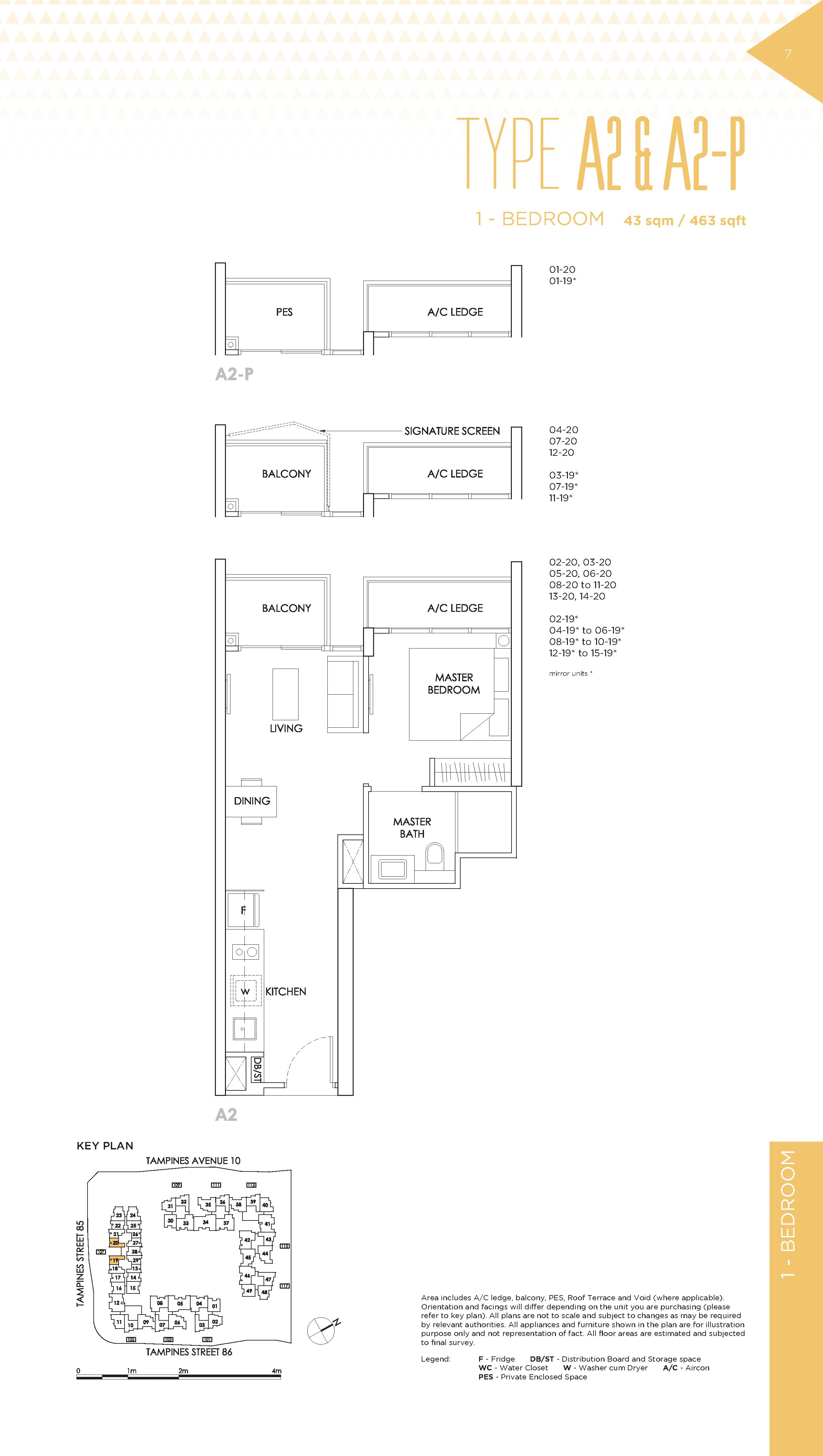 The Alps Residences 1 Bedroom Floor Plans Type A2 & A2-P