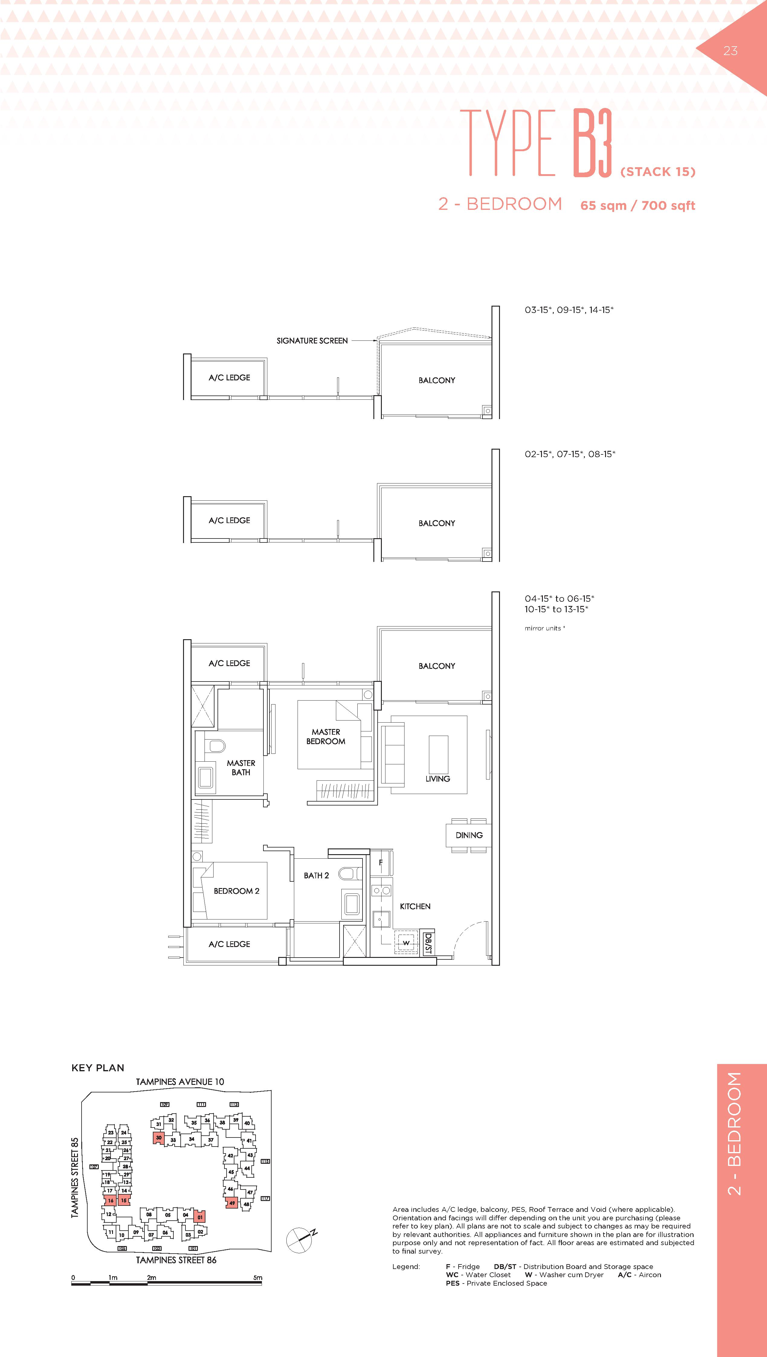 The Alps Residences 2 Bedroom Floor Plans Type B3(Stack 15)