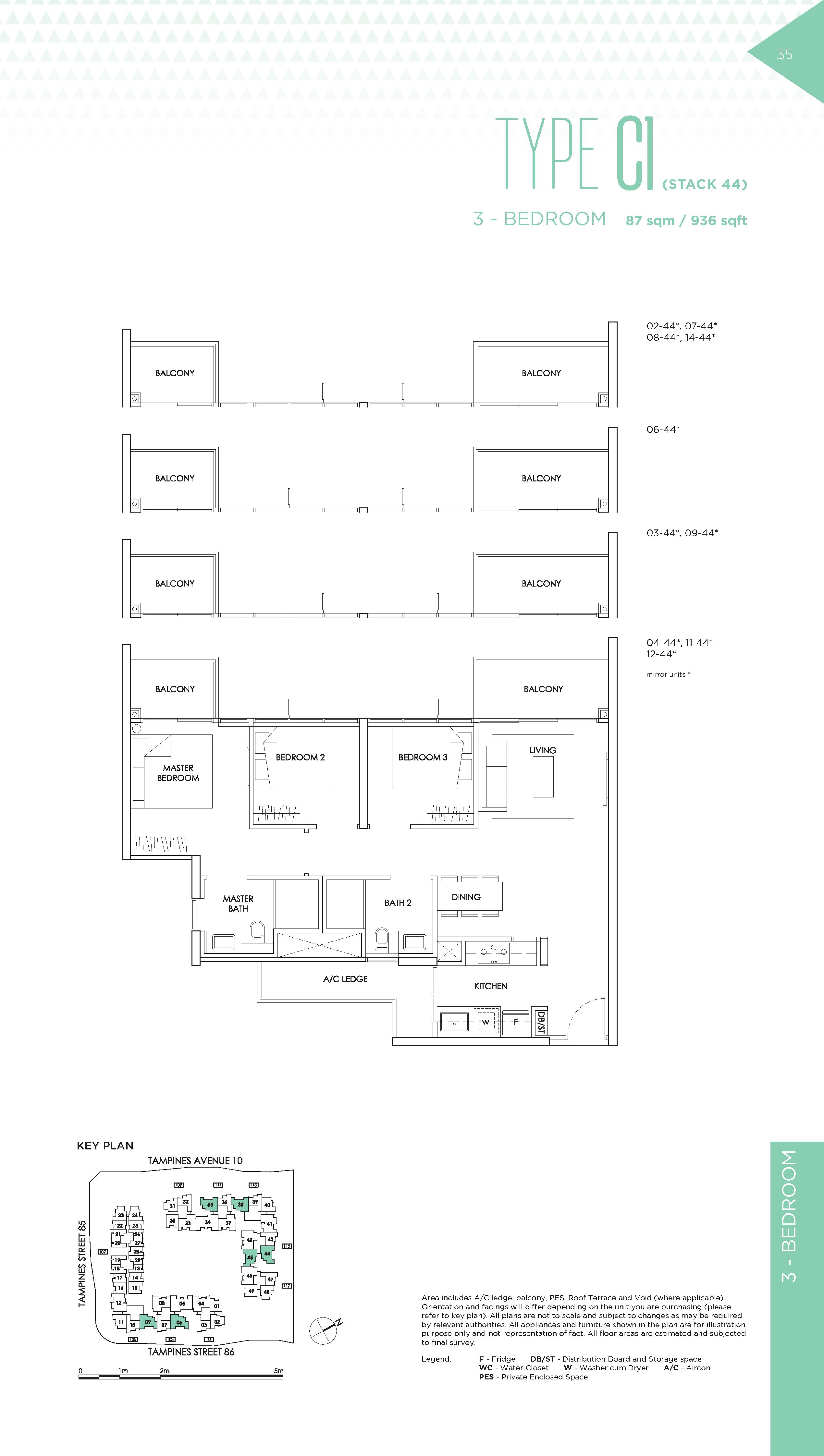 The Alps Residences 3 Bedroom Floor Plans Type C1(Stack 44)