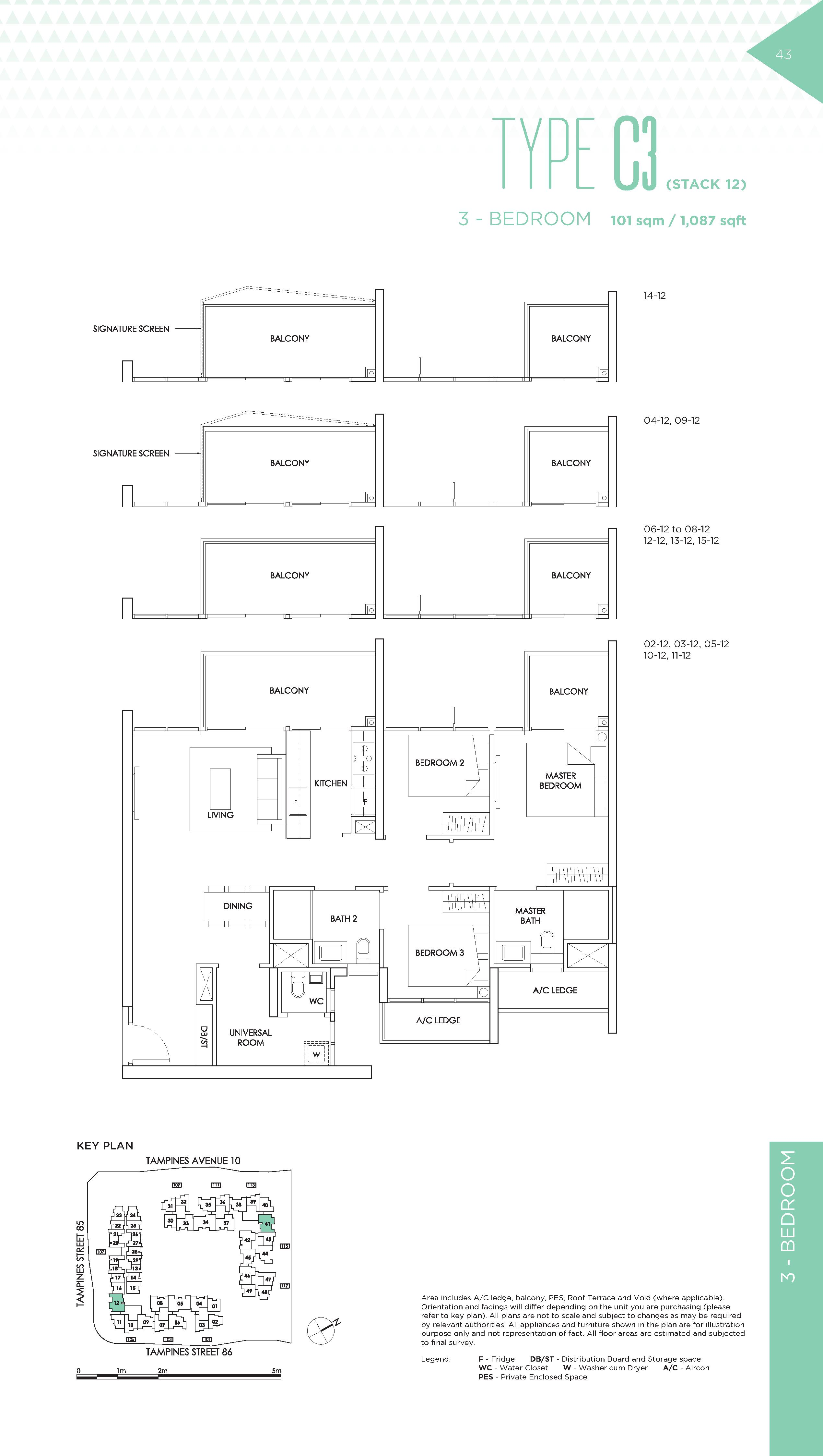 The Alps Residences 3 Bedroom Floor Plans Type C3(Stack 12)