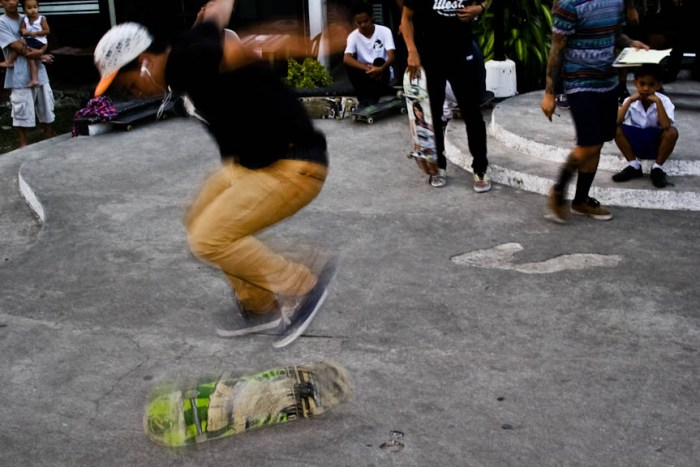 A skater executing a trick during the Game of Skate mini tournament held at the LB Square, a nightlife hub just outside the University of the Philippines campus in Los Banos, Laguna. Photo by: Chris Quintana