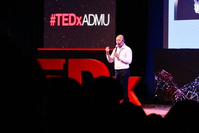 Paul Rivera, founder and CEO of Kalibrr, delivers a talk during TEDxADMU at Ateneo de Manila University, Quezon City. Photo by: Chris Quintana