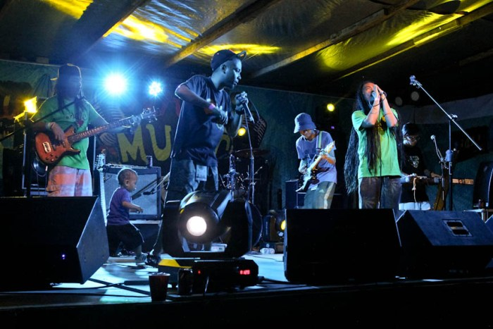 DreadKnot Used performs with vocalist Ram's son on stage during the Nalu Music Fest in Baler, Aurora. Photo by: Chris Quintana