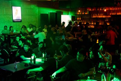 Lovecore's family, friends, and supporters are gathered for the band's album launch at Checkpoint Rock Bar in Parañaque City. Photo by: Chris Quintana.
