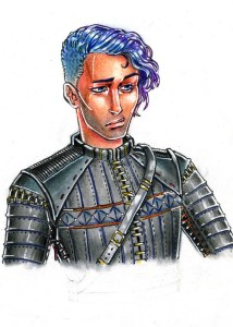 Garrett wears grey leather armor. He has an undercut side of his head, with hair growing past his ear on the other. His hair is in an ombre, going from blue to purple.