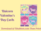 Unicorn Valentine's Day Cards Printable