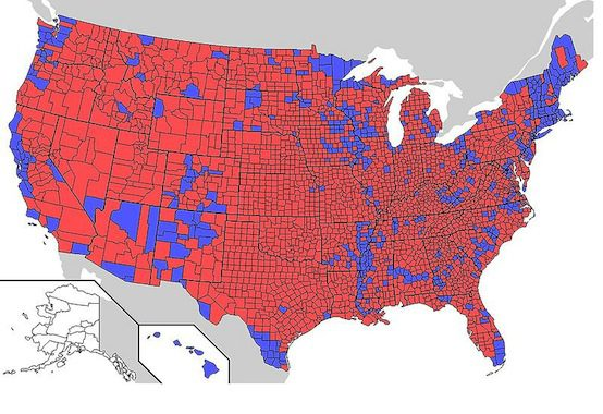 2004 Presidential Election Result by County/Parish. Wikimedia Commons.