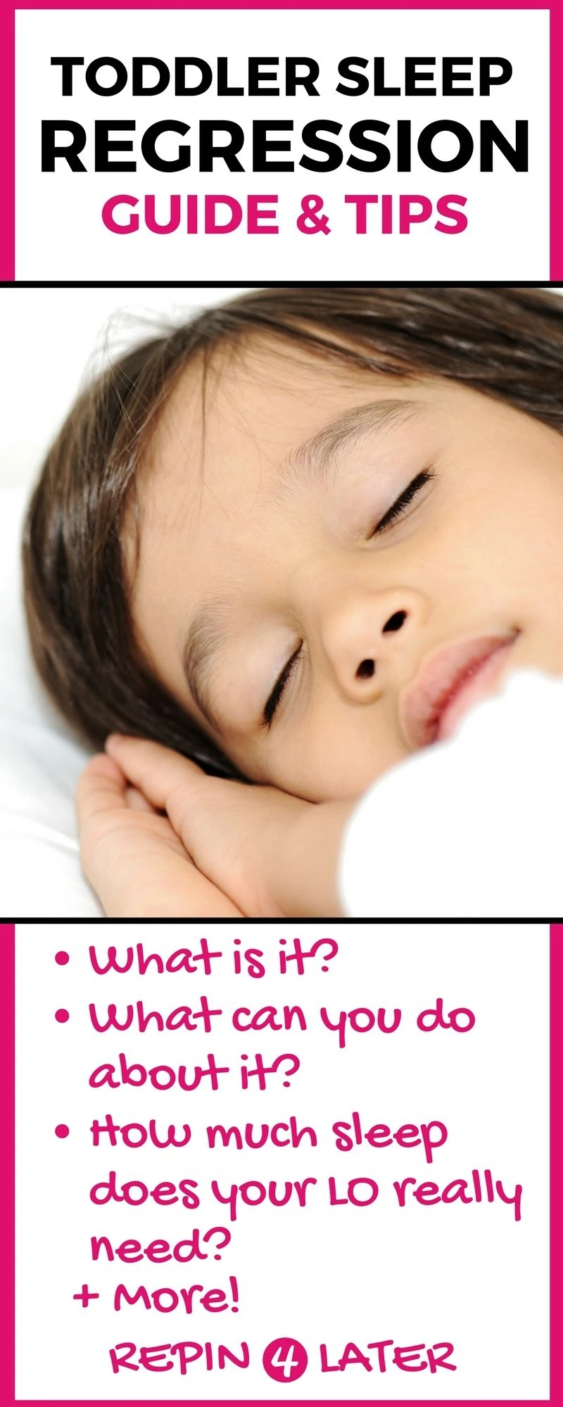 Toddler sleep regression is real! This guide written by a sleep training expert has great sleep regression tips, example toddler sleep schedule, and general toddler sleep training help! Start getting more sleep today!