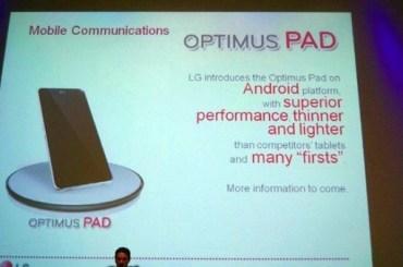 8.9 inch LG Pad with honeycomb tegra 2 processor