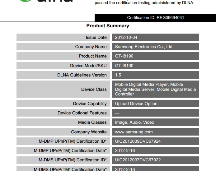 Galaxy S3 Mini GT-I8190 DLNA Certificate