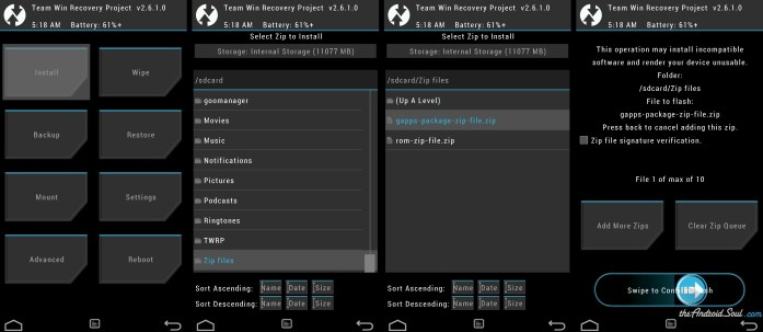 Flash Gapps package .zip file using TWRP recovery