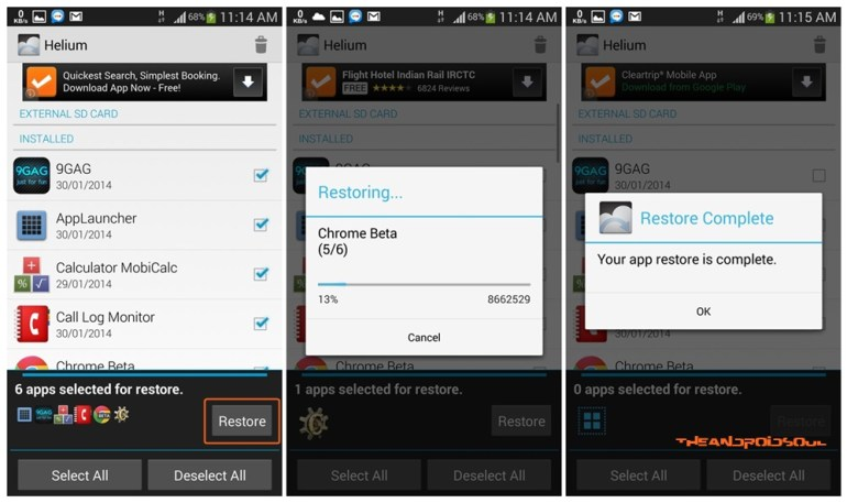 Helium Android App Restore Apps Process