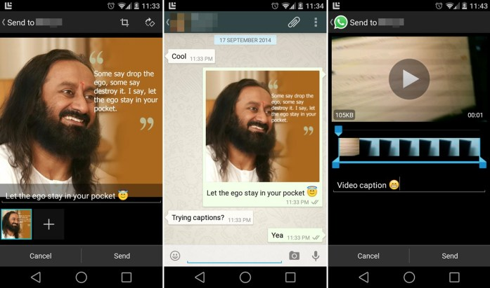 WhatsApp for Android Photo and Video Captions