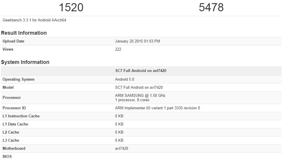 Exynos 7420 processor benchmark