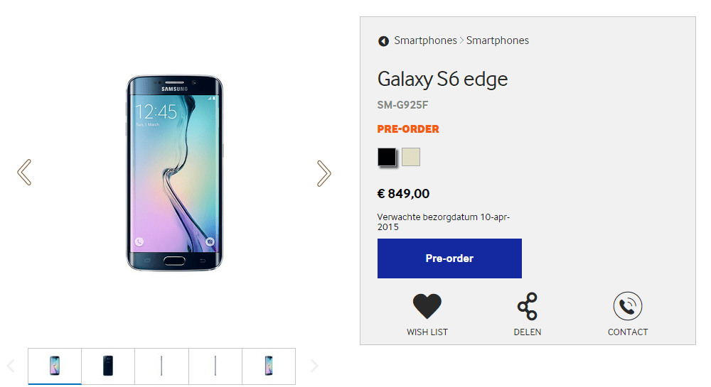 Galaxy S6 edge price