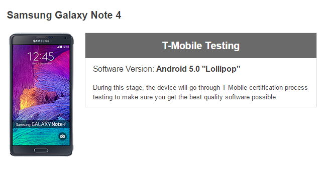T-Mobile Galaxy Note 4 Lollipop update