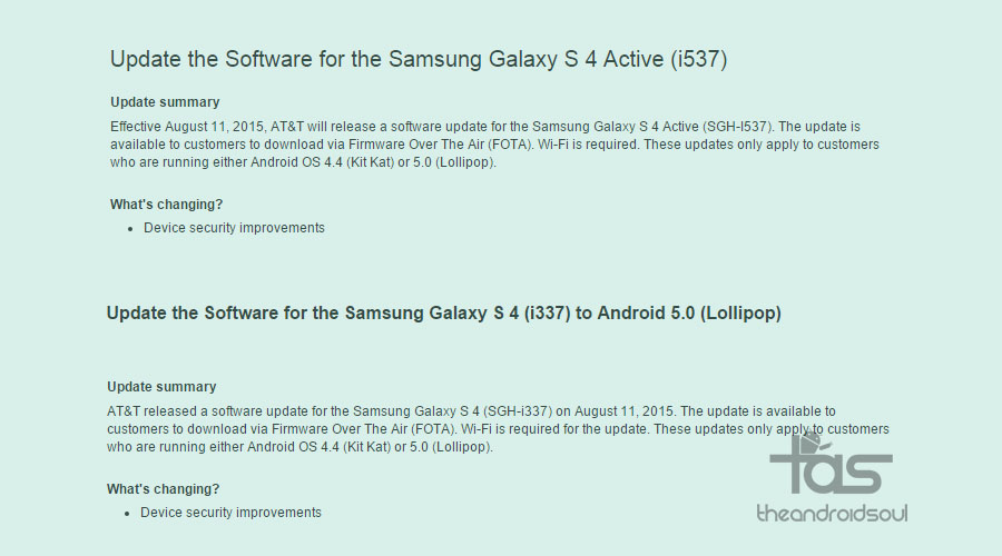 AT&T Galaxy S4 and S4 Active Update