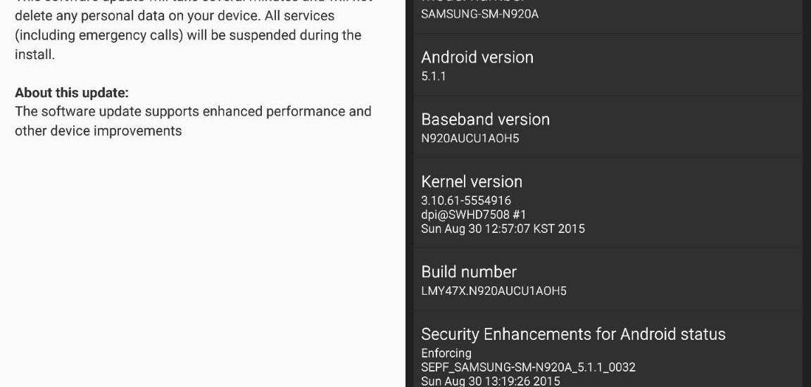AT&T Galaxy Note 5 OH5 update
