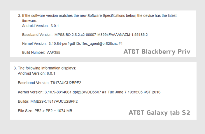 AT&T Blackberry Priv and Galaxy Tab S2 get the Android Marshmallow OTA