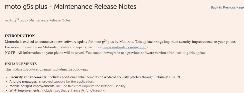 Moto G5s plus feb 2019 patch