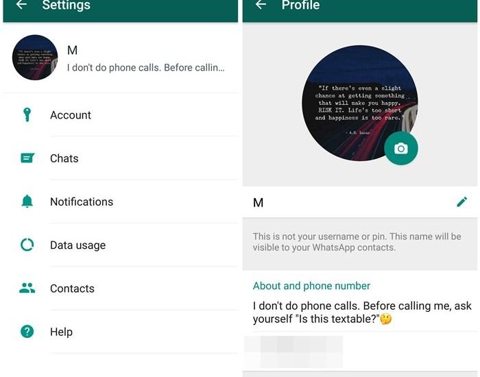 Whatsapp about status