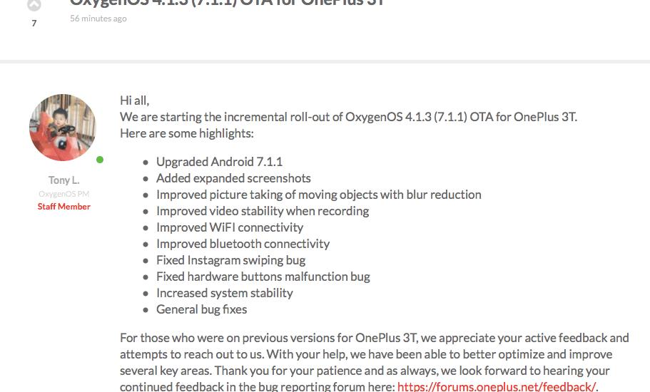 OnePlus OxygenOS 4.1.3