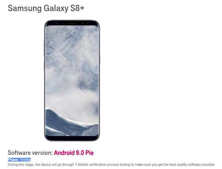 T-Mobile Galaxy S8+ Pie testing