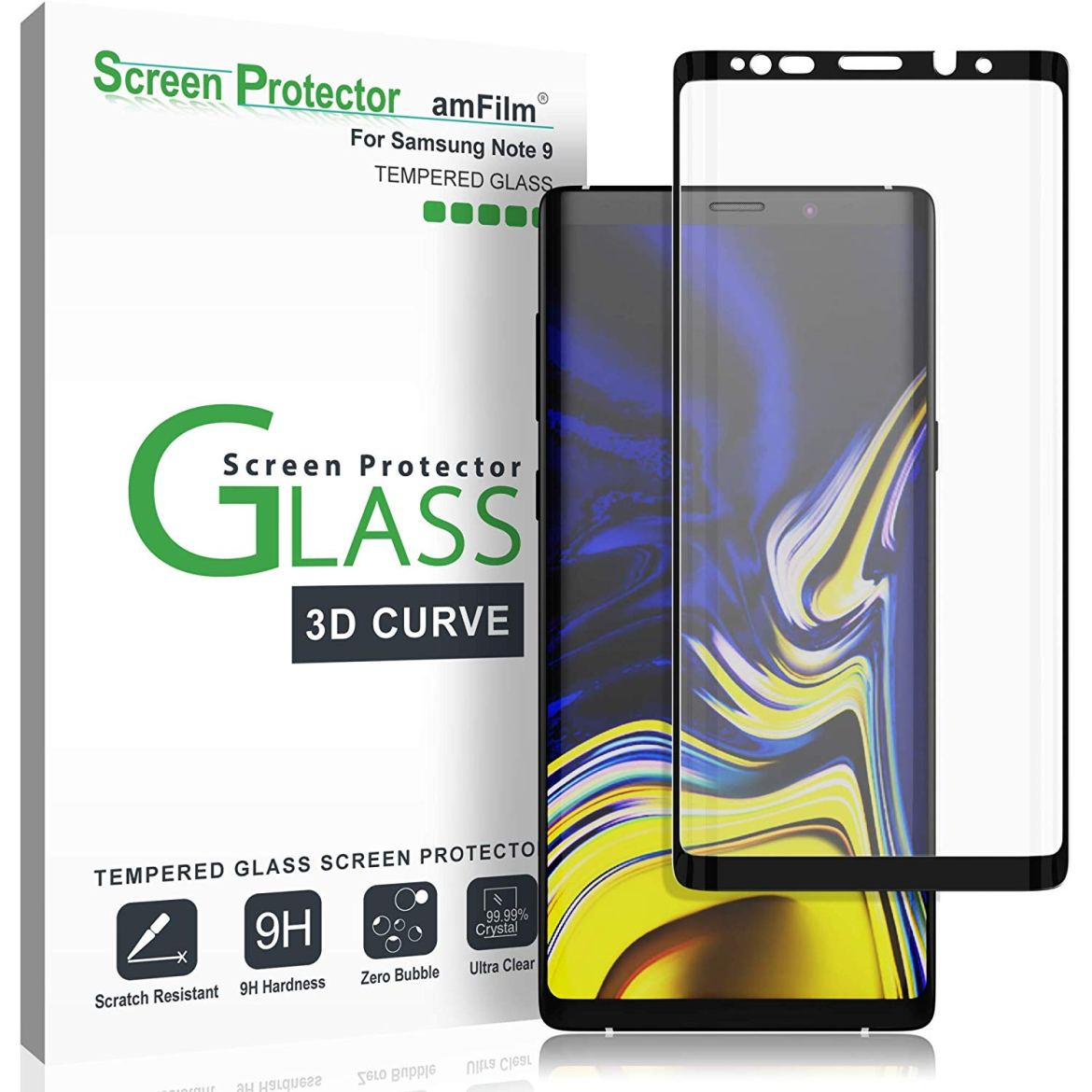 amFilm Tempered Glass Screen Protector Galaxy Note 9