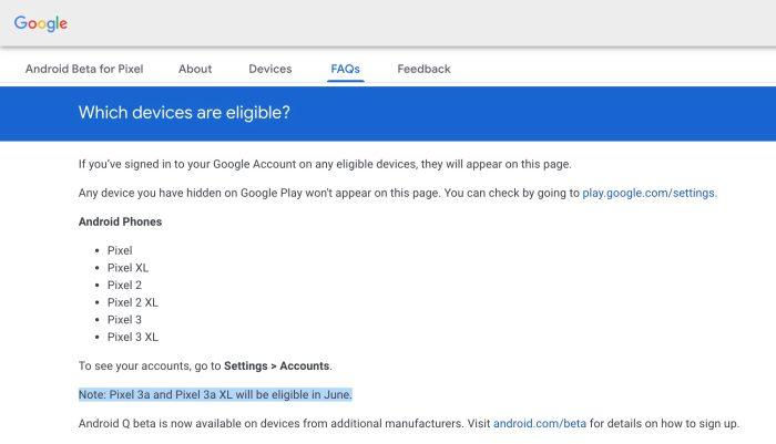 Google Pixel 3a Q beta