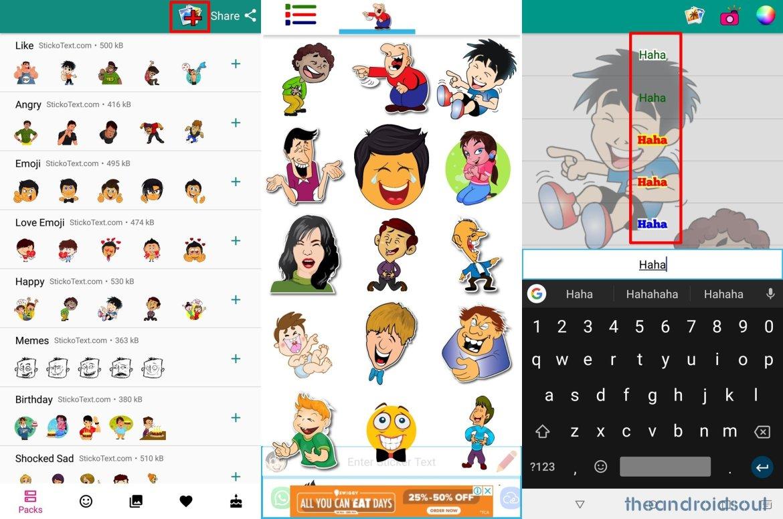 WhatsApp sticker text