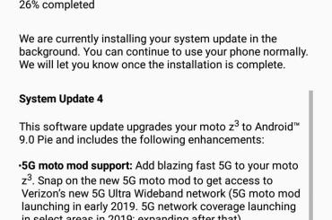 Moto Z3 Android 9 Pie Verizon