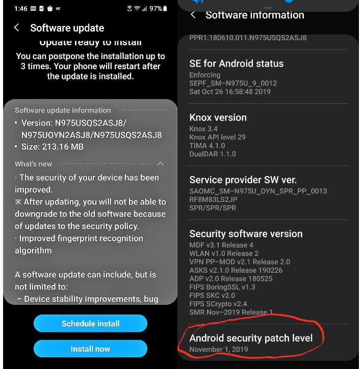 November update for Sprint Galaxy Note 10, Note 10 Plus
