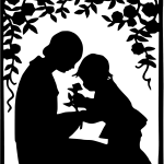 Silhouette of child giving flower to a woman