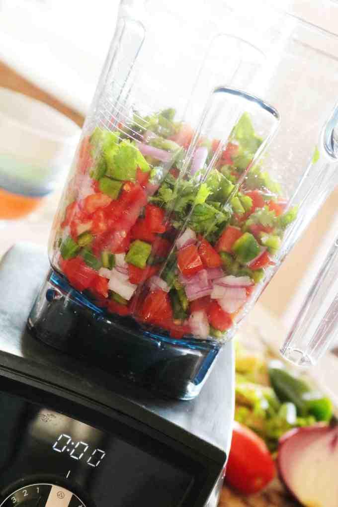 Fresh salsa made in a blender