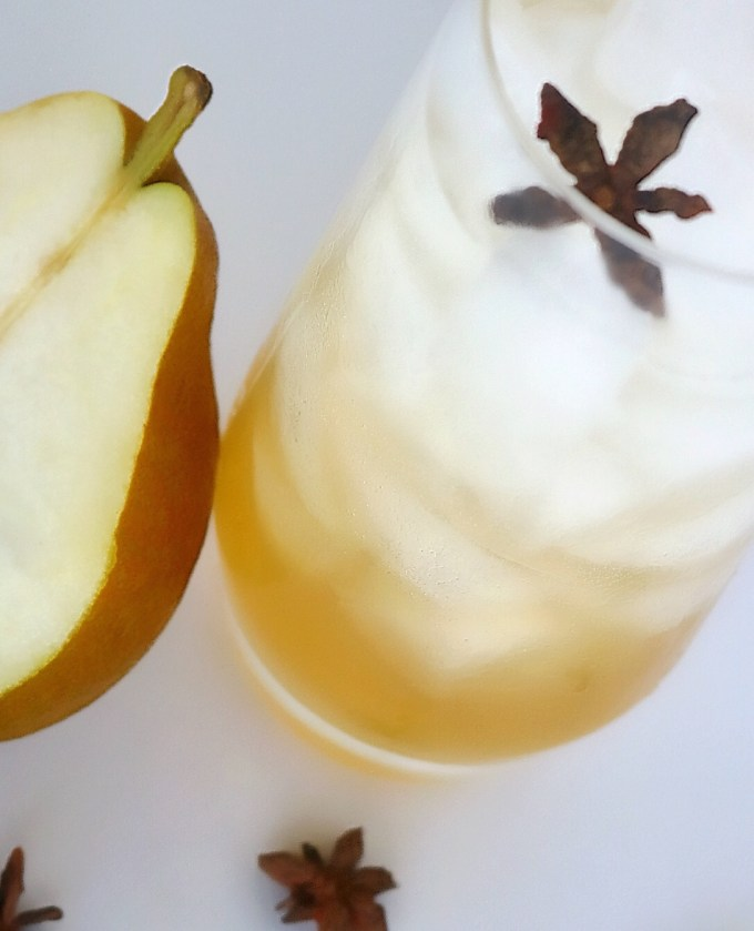 Pear, ginger, and vanilla play along perfectly together for a beautiful and refreshing fall cocktail.