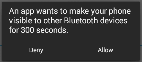 an-app-wants-to-make-your-phone-visible-to-other-bluetooth-devices-for-300-seconds